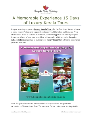 A Memorable Experience 15 Days of Luxury Kerala Tours