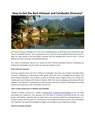 How to Get the Best Vietnam and Cambodia Itinerary?