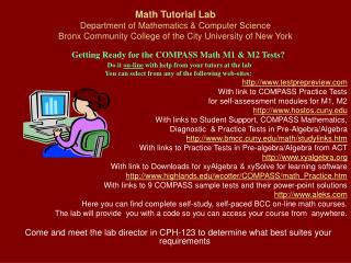 Math Tutorial Lab Department of Mathematics  Computer Science Bronx Community College of the City University of New York