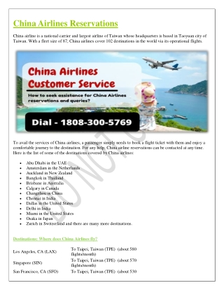 China Airlines Reservations Online