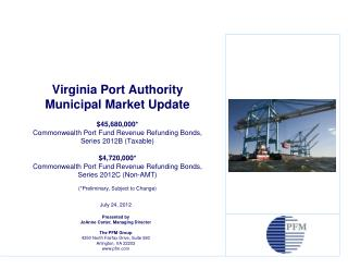 July 24, 2012 Presented by JoAnne Carter, Managing Director The PFM Group 4350 North Fairfax Drive, Suite 580 Arlington,