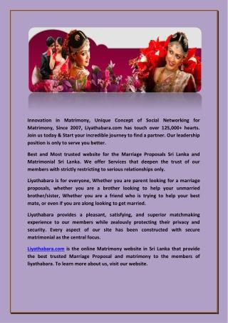 Sri Lankan Matrimony -|( liyathabara )