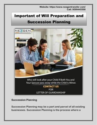 Important of Will Preparation and Succession Planning