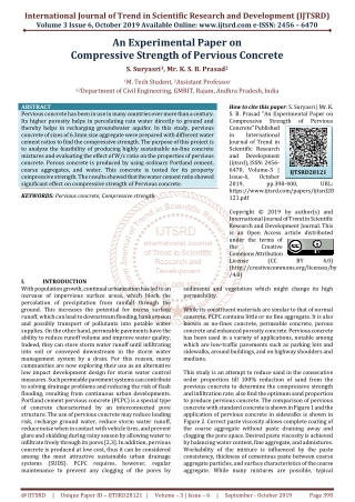 An Experimental Paper on Compressive Strength of Pervious Concrete