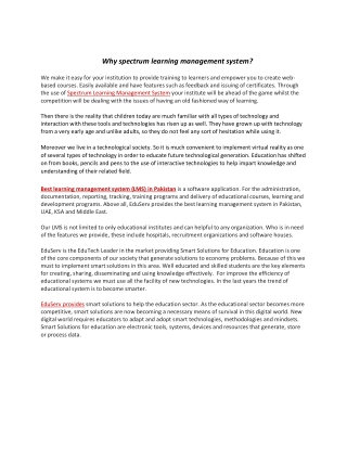 Why spectrum learning management system