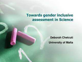 Towards gender inclusive assessment in Science