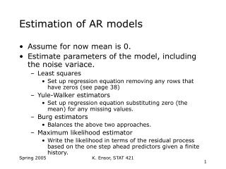 Estimation of AR models