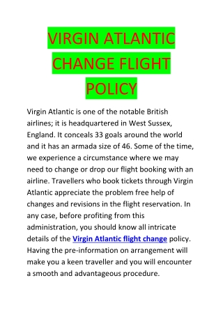 Virgin Atlantic flight change policy
