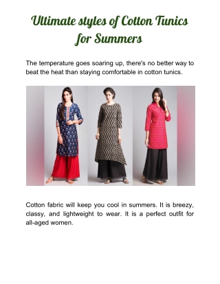 Cotton Tunics for Summers 2020