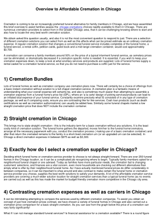 Overview to Affordable Cremation in Chicago