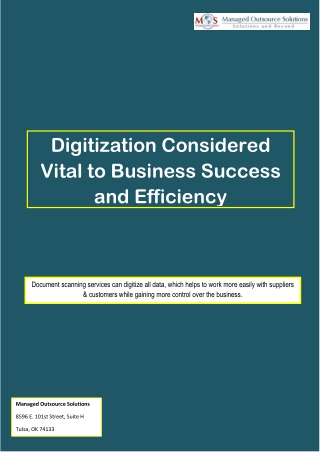 Digitization Considered Vital to Business Success and Efficiency