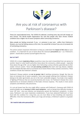 Are You at Risk of Coronavirus with Parkinson'S Disease?