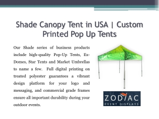 Shade Canopy Tent in USA | Custom Printed Pop Up Tents