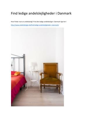 Find ledige andelslejligheder i Danmark