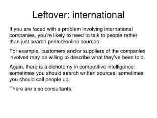 Leftover: international