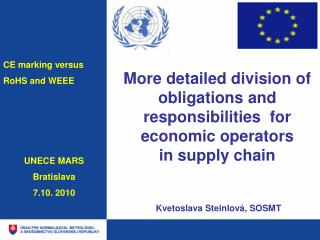 More detailed division of obligation s  and responsibilities  for economic operators  in supply chain   Kvetoslava Stein
