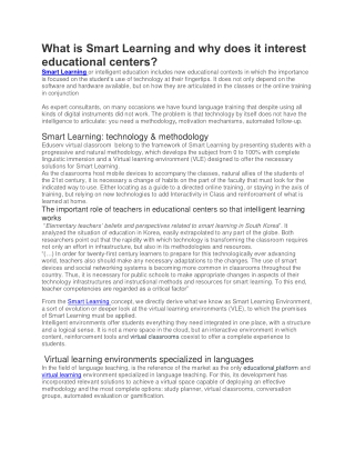 what Is Smart Learning And Why Does It Takes interest in Educational Centers