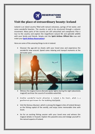 Visit the place of extraordinary beauty: Iceland