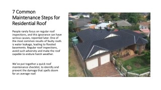 7 Common Maintenance Steps for Residential Roof