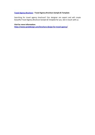Travel Agency Brochure - Travel Agency Brochure Sample & Template