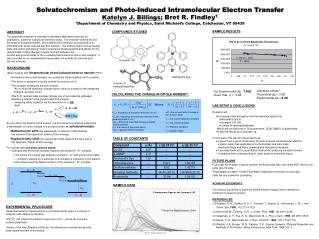 Solvatochromism and Photo-Induced Intramolecular Electron Transfer Katelyn J. Billings; Bret R. Findley1 1Department of