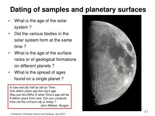 What is the age of the solar system ? Did the various bodies in the solar system form at the same time ?