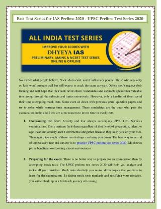 Best Test Series for IAS Prelims 2020 - UPSC Prelims Test Series 2020