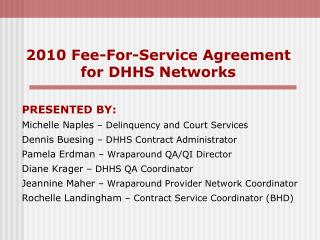 2010 Fee-For-Service Agreement for DHHS Networks