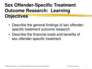 Sex Offender-Specific Treatment Outcome Research:  Learning Objectives