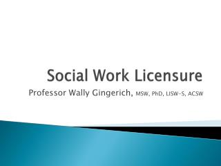 Social Work Licensure