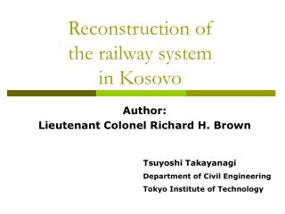 Reconstruction of the railway system in Kosovo