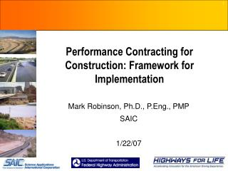 Performance Contracting for Construction: Framework for Implementation