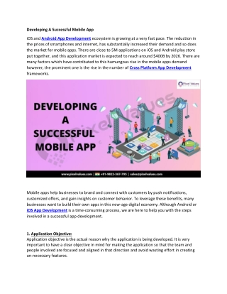 Developing A Successful Mobile App-Pixel Values Technolabs