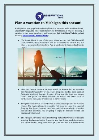 Plan a vacation to Michigan this season!