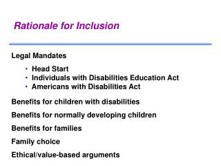 Rationale for Inclusion