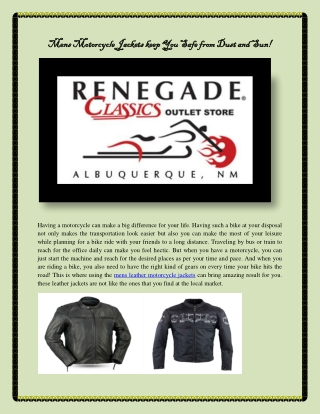 Mens Motorcycle Jackets keep You Safe from Dust and Sun!