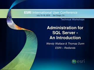 Administration for SQL Server -  An Introduction