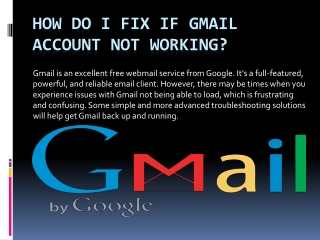 How to Fix Gmail Account Not Working?