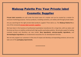 Makeup Palette Pro: Your Private label Cosmetic Supplier