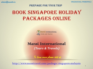 Book Singapore Holiday Packages Online