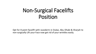 Non-Surgical Facelifts Position