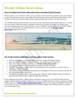 WestJet Airline Reservations Online