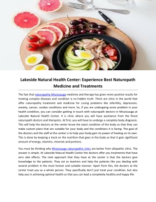 Lakeside Natural Health Center: Experience Best Naturopath Medicine and Treatments