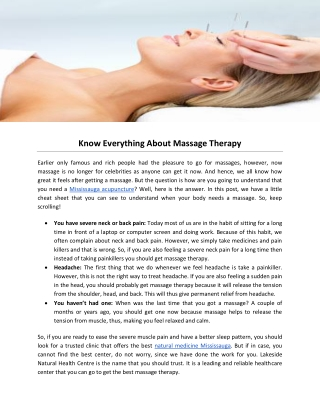 Know Everything About Massage Therapy