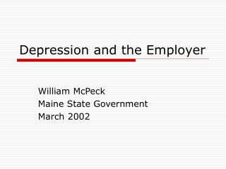 Depression and the Employer