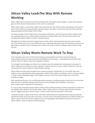 Silicon Valley Leads The Way With Remote Working