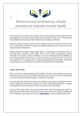 Dementia and Coronavirus: Simple Activities to Improve Mental Health
