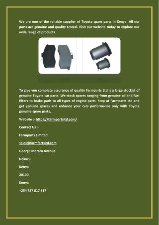 Toyota Car Parts - Genuine Spare Parts