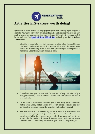 Activities in Syracuse worth doing!