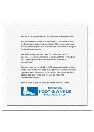 Certified Foot and Ankle Specialists COVID-19 Infographic